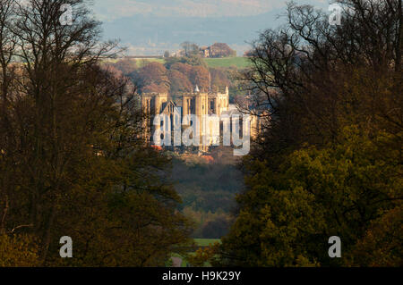 A view of Ripon Cathedral seen from Studley Royal, Ripon, North Yorkshire. November. - Stock Image