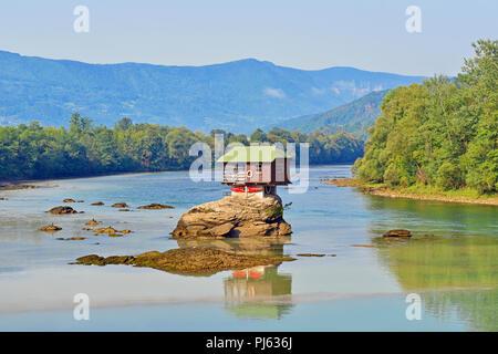 House on the River Drina, Bajina Basta, Serbia - Stock Image