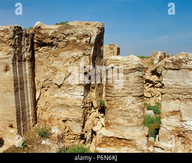 Syria. Near Salhiyah. Dura Europos. Hellenistic, Parthian and Roman city. Ruins of the Temple of Artemis. Photo taken before the Syrian Civil War. The remains of this building was demolished by ISIS between 2001-2014. - Stock Image