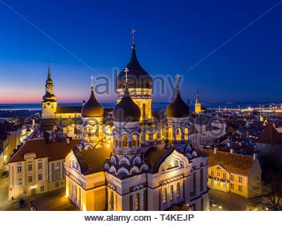 Russian orthodox Alexander Nevsky cathedral in Tallinn, Estonia. - Stock Image