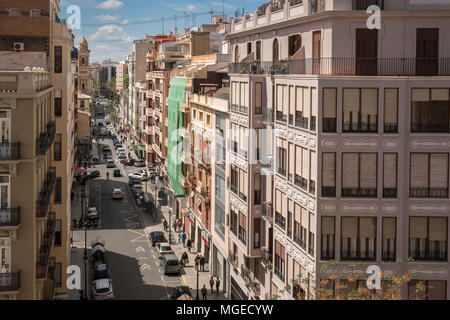 View of Carrer de Quart from top of Torres de Quart, Barrio Del Carmen district, Valencia, Spain. - Stock Image