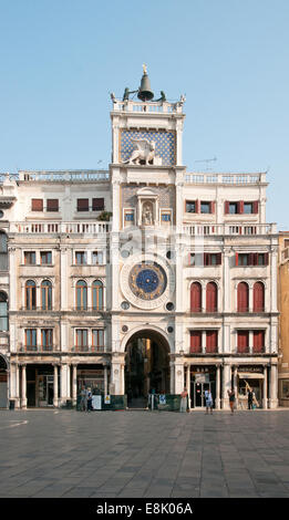 Clock Tower or Torre dell Orologio St Marks Square Venice Italy designed by Codussi built between 1496 and 1499 - Stock Image