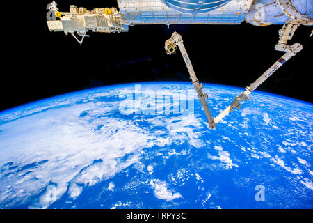 Planet Earth is seen from the International Space Station. Vibrant color satellite view of our home planet. The image is a hand out by NASA - Stock Image