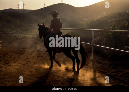 Dark shadow rider with brown horse in the sunset at the mountain - dust and golden light for freedom alternative lifestyle millennial people withouth  - Stock Image
