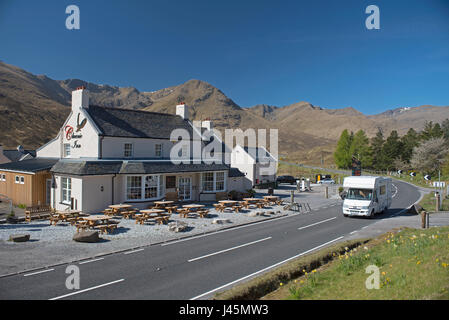 The Cluanie Lodge Hotel on the A87 road Midway down Glen Sheil en-route towards Sheil bridge in Highland Region, - Stock Image