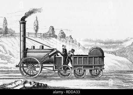 ROBERT STEPHENSON'S ROCKET in an 1829 engraving - Stock Image