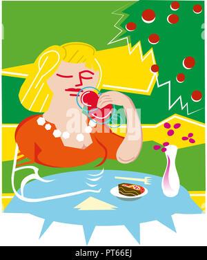 Eating cake and drinking fruit juice.  Blond girl eating cake and drinking fruit juice.in the garden. - Stock Image