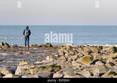 Reflecting at the North Sea - Stock Image