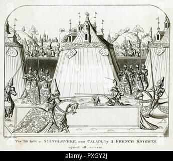 Anglo-French tournament at Saint-Inglebert, near Calais.     Date: circa 1380s - Stock Image