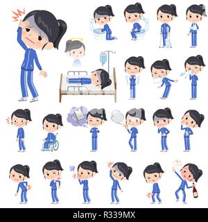 A set of women in sportswear with injury and illness.There are actions that express dependence and death.It's vector art so it's easy to edit. - Stock Image