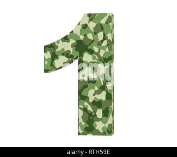 3D rendering Camouflage number 1 one. 3D render Illustration. - Stock Image