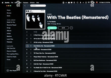 The Beatles album With the Beatles Spotify webpage - Stock Image
