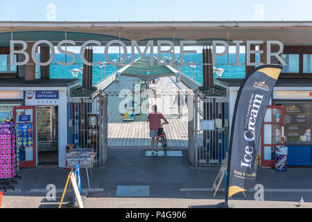 Bournemouth, UK. 22nd June 2018. UK sunny weather, the entrance to art deco Boscombe Pier in Bournemouth. Thomas Faull/Alamy Live News - Stock Image