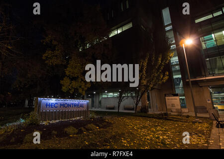 MONTREAL, CANADA - NOVEMBER 5, 2018: HEC Montreal logo taken at night on the entrance of Cote des neiges Campus. Part of the University of Montreal, i - Stock Image