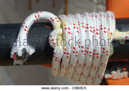 Synthetic rope knotted and glued - Stock Image