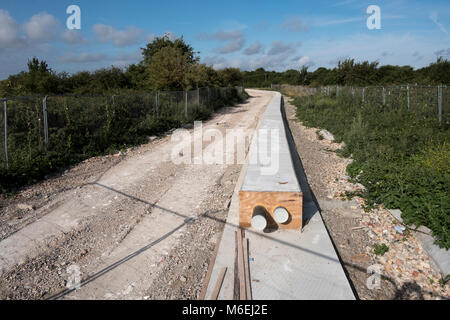 Nemo Link at Pegwell Bay near Ramsgate, Kent.  This is where high voltage electricity cables link ing the UK National - Stock Image
