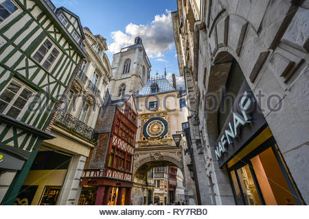 The Gros Horloge, the medieval astronomical clock on the main street of the Normandy city of Rouen France - Stock Image
