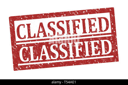 Rubber stamp Classified, text on white illustration - Stock Image
