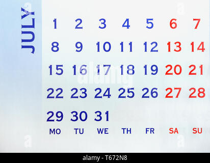 Wall Calendar July top view. Your may mark any day. Copy space for message - Stock Image