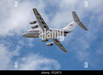 Flying out of RAF Lossiemouth is ZE701 British aerospace Statesman aircraft departing for RAF Northolt in Greater London. - Stock Image
