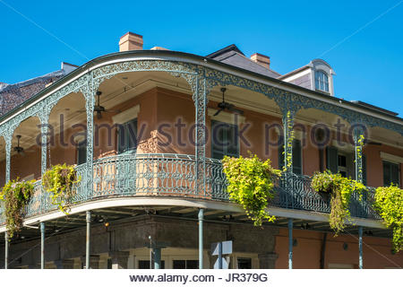 United States, Louisiana, New Orleans. French Quarter balconies on Chartres Street. - Stock Image