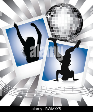 dancing people silhouettes with old photo frame and disco ball - Stock Image