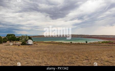 PUEBLO, CO, USA-7/15/18: Lake Pueblo State Park, with RV trailer. - Stock Image