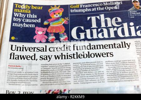 The Guardian newspaper headlines 'Universal credit fundamentally flawed, say whistleblowers'  in London England UK 23 July 2018 - Stock Image