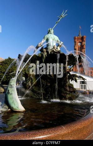 Europe, Germany, Germany, Berlin, fountain, Neptunbrunnen - Stock Image