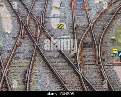 Railway switches, multiple directions, Hamburg harbor, Germany - Stock Image