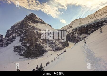 Deep Snow and Winter Landscape View of Victoria Glacier between Banff and Yoho National Park, Canadian Rocky Mountains - Stock Image