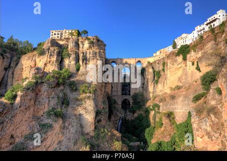 Spain, Andalucia, Ronda, Ronda Village and Ponte Nuovo Bridge - Stock Image