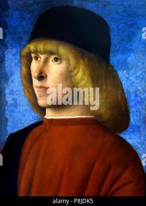 Portrait of a young senator 15th century by Giovanni Bellini (1430 – 1516) Italian Renaissance painter ,Italy Italian - Stock Image