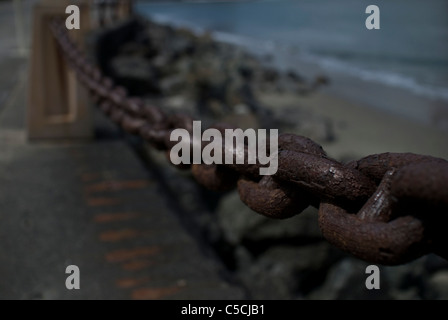 chain link railing - Stock Image