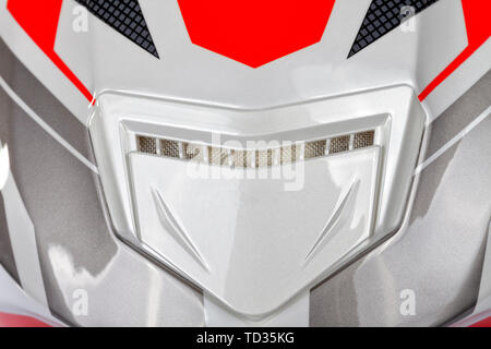 Detail of the rear ventilation system of a motorcycle helmet. - Stock Image