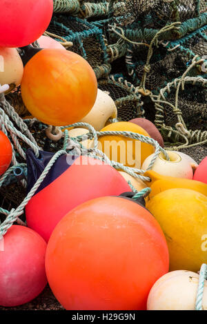 Fishing creels and floats at Leverburgh, Isle of Harris, Outer Hebrides, Scotland - Stock Image