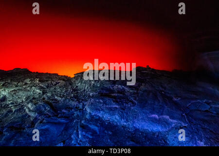 Erta Ale Volcano is a continuously active basaltic shield volcano and lava lake in the Afar Region of Ethiopia - Stock Image