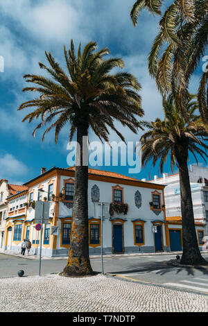 Aveiro, Portugal, April 29, 2019: View of the beautiful old facades buildings in Art Nouveau architectural style in Aveiro city, Portugal - Stock Image