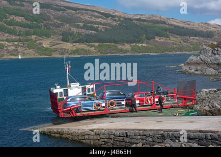 The worlds last working car turntable ferry operating between Glenelg and Kylerea on the Isle of Skye in the west - Stock Image