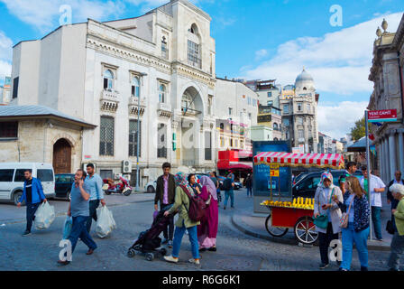Yeni Camii caddesi, with Turkey IS Bank Museum in background, Fatih, Istanbul, Turkey, Eurasia - Stock Image