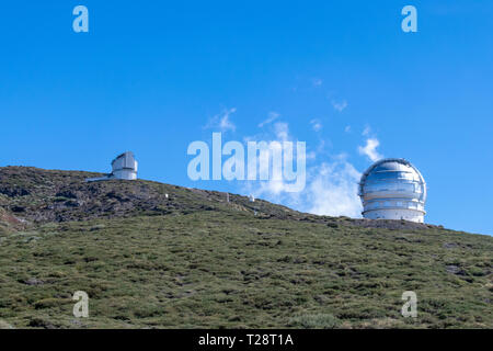 Astronomy telescopes at roque de los muchachos, La Palma, Canary Islands, Spain - Stock Image