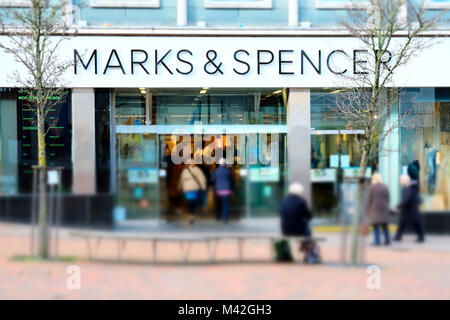 The Marks and Spencers, or M&S, store in Bournemouth,which is set for closure by April 2018 under the companies - Stock Image