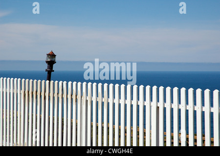White Picket Fence & Ocean - Stock Image