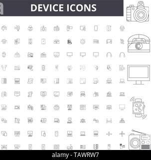 Device line icons, signs, vector set, outline illustration concept  - Stock Image
