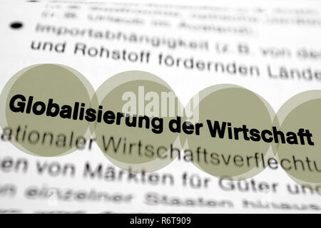 Text on page Economic Growth highlight horizontal closeup - Stock Image