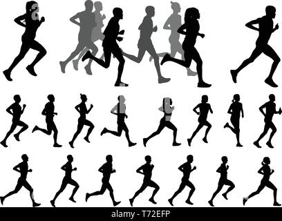runners silhouettes collection - vector - Stock Image