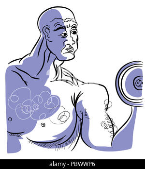 Old boldybuilder.  illustration of bodybuilder bald man holding dumbbell. - Stock Image