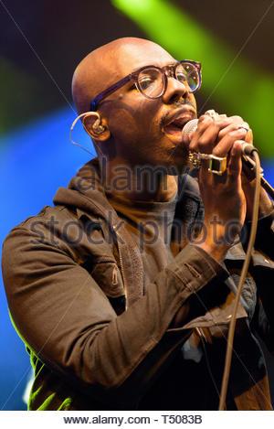 Ghostpoet performing at Womad 2015, Charlton Park, Malmesbury, 26th July 2015 - Stock Image