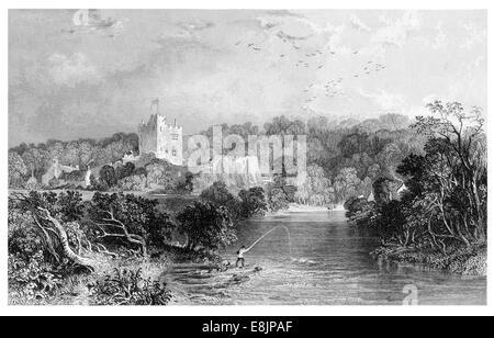 Bothal Castle Northumberland  stately home River Wansbeck circa 1880 - Stock Image