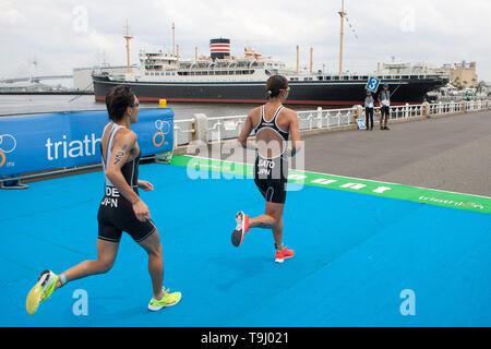 Yokohama, Japan. 18th May, 2019. 2019 ITU World Triathlon, World Paratriathlon Yokohama at Yamashita Park and Minato Mirai, Yokohama. Sato, Ide (Photos by Michael Steinebach/AFLO) Credit: Aflo Co. Ltd./Alamy Live News - Stock Image